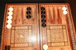p010 SUPERBLY DETAILED Vtg Handmade Arts & Crafts Inlaid Backgammon