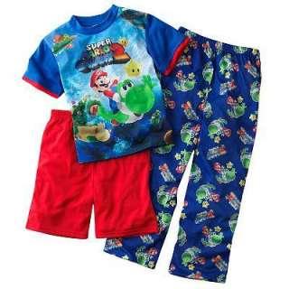 NINTENDO Super MARIO Galaxy Yoshi 3pc Pajamas Pjs sz 12
