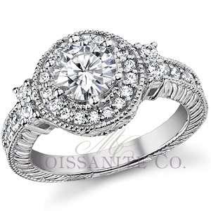 Round Brilliant Antique Halo Moissanite Engagement Ring 1.13ctw