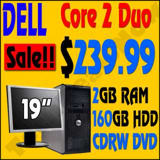SUPER FAST DELL DUAL CORE CORE 2 DUO TOWER DESKTOP COMPUTER PC + LCD