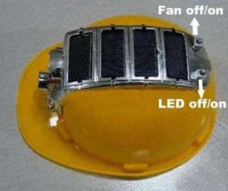 Solar Safety Helmet Hard Hat Cap Cooling Cool Fan &8 LED Light