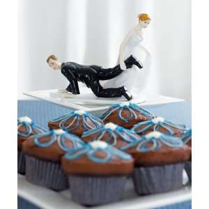 Comical Cake Topper   Couple with Bride Having the Upper