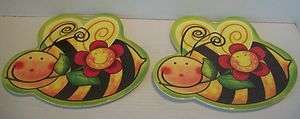 Set of 2 Large Plastic Bumble Bee w/Flower Childs Colorful Snack