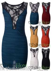 Womens Long Dress Pleated Bodycon Stretch Lace Mini Party Vest Top