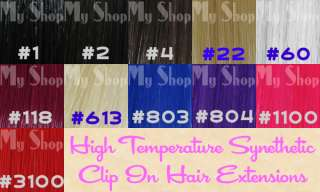 Clip On In Hair Extensions 20 wigs Hot Pink #1100
