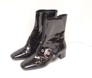 Franco Sarto Black Buckle Patent Leather Boots Size 8