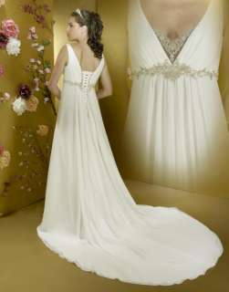 Plunge Neck Delicate Beading Wedding Dress Custom Made