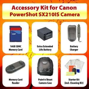 for Canon PowerShot SX210IS including Extended Life Battery + Battery