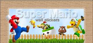 HUGE SUPER MARIO bros Scene REPOSITIONABLE WALL STICKER Luigi Boys