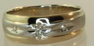 14k yellow white gold .04ct diamond wedding band ring