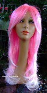 HOT  Calypso Wig  Hot Pink with White