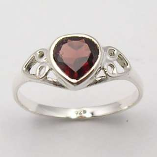 925 Sterling Silver GARNET Heart Gemstone Ring Any Size