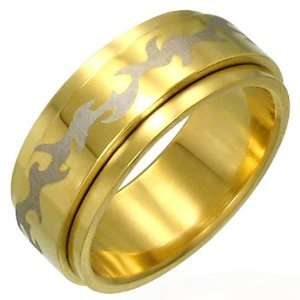 : Gold Plated Stainless Steel Tribal Design Spinner Ring 13: Jewelry