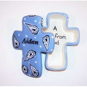 Blue Paisley Hand Painted Ceramic Cross Box  Kitchen