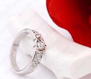 Plated Jewelry Use Multi Swarovski Crystal Heart Love Ring Sz8