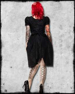 SPIN DOCTOR BLACK GOTHIC STEAMPUNK VICTORIAN FLOCKED POLARIS DRESS