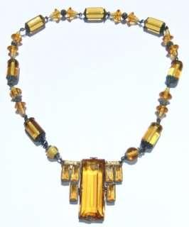 VINTAGE ANTIQUE 1920s ART DECO SIGNED CZECH AMBER GLASS NECKLACE