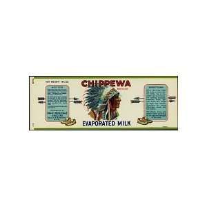 Vintage Chippewa Indian Evaporated Milk Can Label