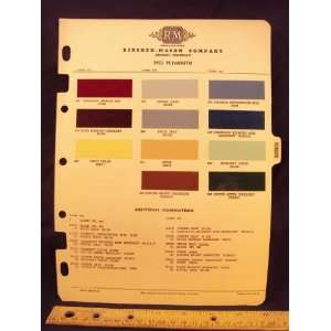 1953 PLYMOUTH Paint Colors Chip Page Chrysler Cororation