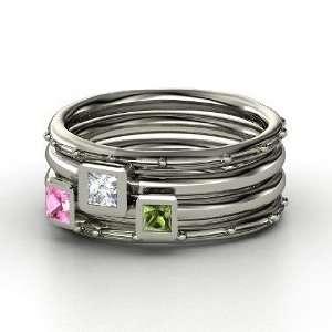 Princess Diamond 14K White Gold Ring with Green Tourmaline & Pink Sap