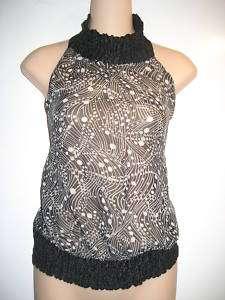 NWT BEBE black smock neck silk halter top S NEW