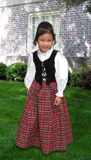 Scottish Tartan Three Piece Traditional Dress for Girls Handmade Plaid