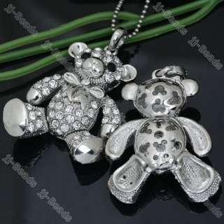 Silver Plated Clear Crystal Cartoon Bear Bead Pendant