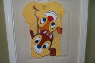 new girls SHIRT top disney CHIP AND DALE XS 4/5 XL 14/16 chipmunks