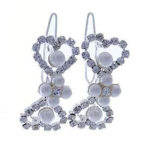 Multi Faux Pearl and Crystal Metal Snap Bow Shaped Hair Clips Jewelry