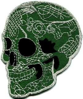 Skull tattoo biker horror goth punk emo rock retro applique iron on