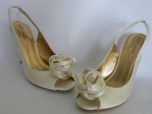 New $299 Elegant Kate Spade CHRISTA Bridal Shoes US 6 Ivory Satin