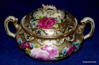 Antique Noritake Nippon Roses Cracker Jar with Heavy Gilt Maple Leaf