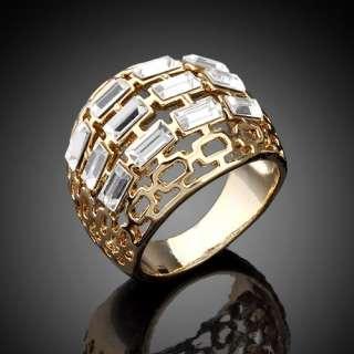 GP Gold tone Finger Ring,Swarovski Cubic Zirconia CZ 3 Bar Hollow Size