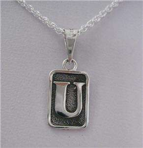Mexican 925 Silver Oxidized Etched Initial Letter  U  Charm Pendant