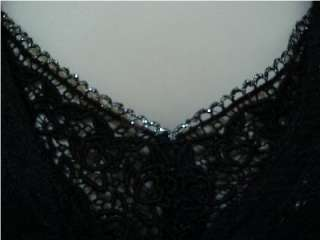 WOMENS NOSTALGIA BRAND DRESS SZ12 BLACK LACE LINED SILVER SPARKLES
