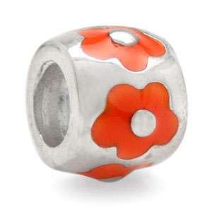 Enamel 925 Sterling Silver Flower European Charm Bead