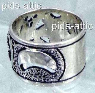 RETIRED Silpada Sterling Silver Celestial Moon Stars Band Ring Size 8