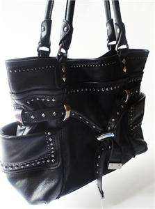 MAKOWSKY Eden BLACK Glove Leather Silver Stud Handbag Hobo Tote