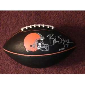 BRIAN SIPE SIGNED AUTOGRAPHED BLACK LOGO FOOTBALL CLEVELAND BROWNS COA