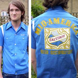 Vintage 70s American US Bill Name Bowling Shirt Falstaff Beer  Blue