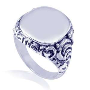 925 Sterling Silver Oxide Engraved Filigree Ring size 10