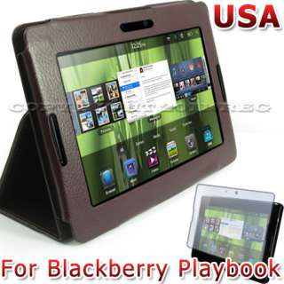 BROWN LEATHER HARD STAND CASE COVER+LCD SCREEN PROTECTOR FOR
