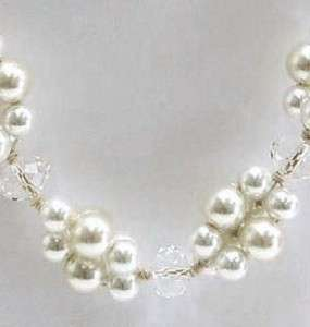 Beautiful White Pearl with Crystal Glass Necklace & Earring Set