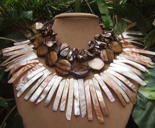 BROWN SHIMMER MOTHER OF PEARL NECKLACE CREAM GOLD BIG NATURAL OCEAN