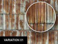 0092 Rusted Corrugated Metal Roof / Wall Texture Sheet