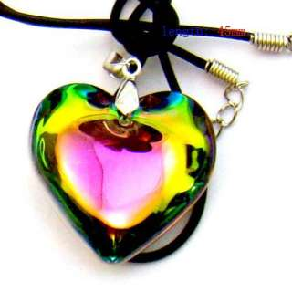 c8001 Rainbow Heart Love Bead Glass Crystal Pendant Necklace Fashion