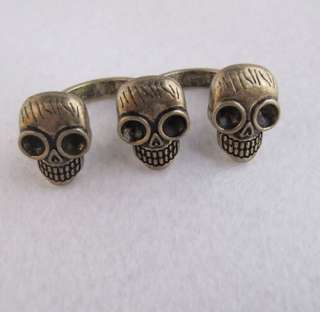 HOT Fashion Bronze Cool Skull Design Two Finger Semi ring Ring r411