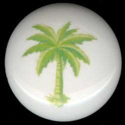 LIME GREEN PALM TREE Tropical Decor CERAMIC KNOBS PULLS