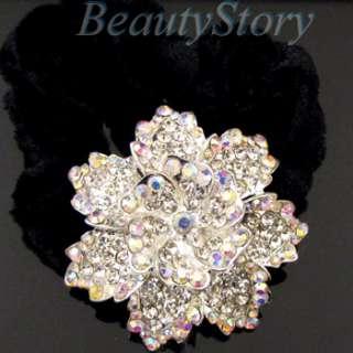 rhinestone crystal flower hair scrunchie ponytail