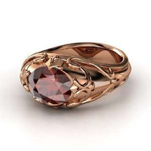 Hearts Crown Ring, Oval Red Garnet 14K Rose Gold Ring Jewelry
